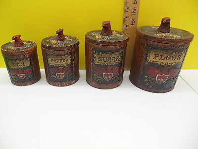 Vintage Napcoware Bicential Red Eagle American  Mid Century  Canister Set