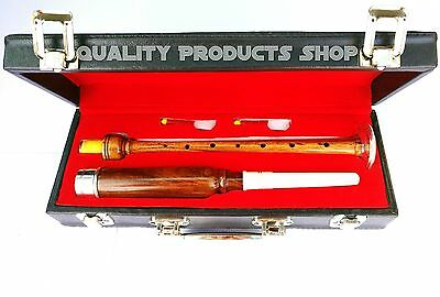 Scottish Practice Chanter Rosewood Silver Mount with carrying Box + 2 reeds