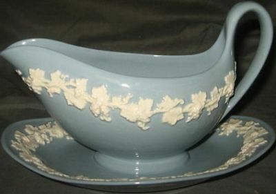 Wedgwood  Cream Color On Lavender Gravy Boat & Plate