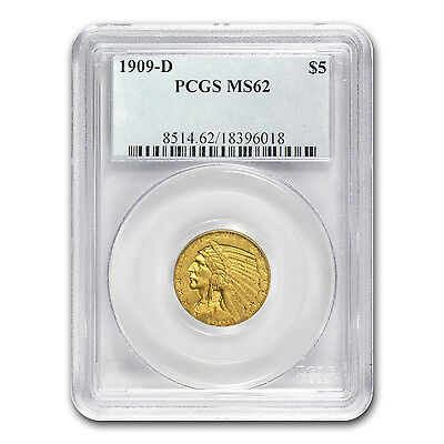 $5 Indian Gold Half Eagle Coin - Random Year - MS-62 PCGS - SKU #12920