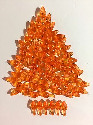 60 ORANGE MEDIUM TWIST BULBS Ceramic Christmas Tree Lights Flame Peg 3/16""
