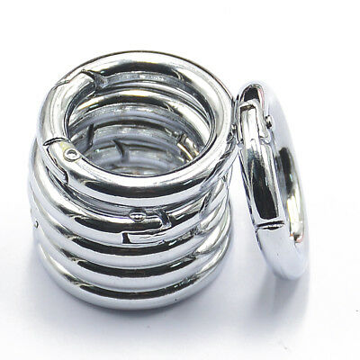 6x Portable Mini Circle Carabiner Spring Clip Hook Keychain Outdoor 25mm