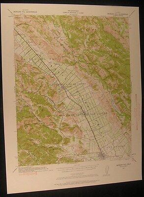 Morgan Hill California Gilroy Tennant 1957 vintage USGS original Topo chart map