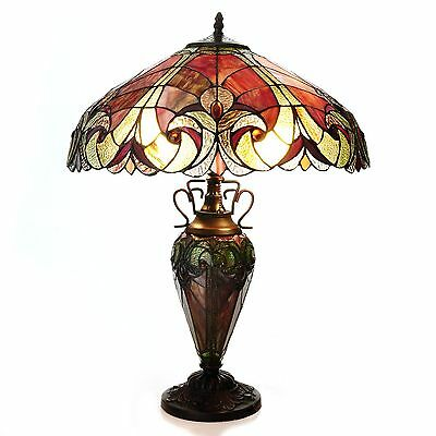 "Tiffany-Style 24.5"" Halston Double Lit Stained Glass Table Lamp"