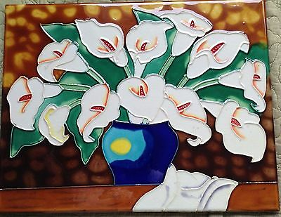 Calla Lilly green large Decorative Ceramic Wall Art Tile 11x14 mint condition
