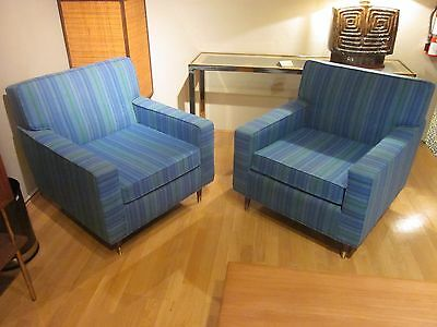 PAIR of Mid Century Blue/Green Striped Arm Chairs c1950s-Orig Condition!