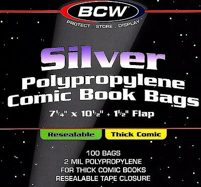 100 BCW Silver Resealable Thick Bags and Boards Archival Comic Book Storage