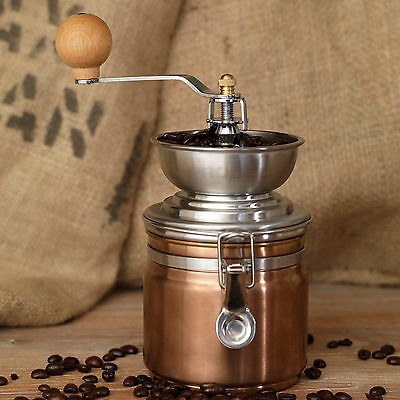 Vintage La Cafetiere Copper Stainless Steel Manual Coffee Bean Mill Grinder