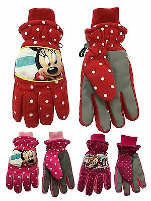 Girls Disney Character Padded Ski Gloves Warm Winter Snow Kids Size 4-12 Years