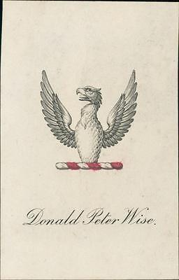 Donald Peter Wise. Bookplate.  Gryphon   qq1115