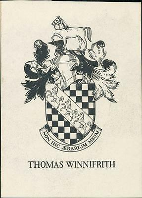 Thomas Winnifrith.  Bookplate.  Horse. Knight's Helmet. Horse.     qq1117