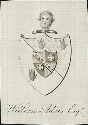 William Adaire esq.   Bookplate.    Shield  Hands Face   qq1124