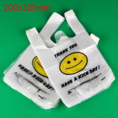 100pcs Carry Out Retail Supermarket Grocery White Plastic Shopping Bag 20 x 30cm
