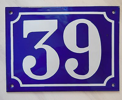 Large ANTIQUE FRENCH STEEL ENAMEL DOOR GATE HOUSE PLAQUE SIGN Blue Number 39