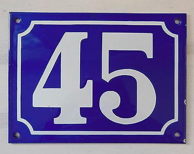 Large ANTIQUE FRENCH STEEL ENAMEL DOOR GATE HOUSE PLAQUE SIGN Blue Number 45