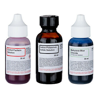 AmScope SK-3E Simple Stains Stain Kit of 3 Chemicals 4 Making Microscope Slides