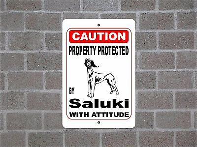 Property protected by Saluki dog breed with attitude metal sign #B