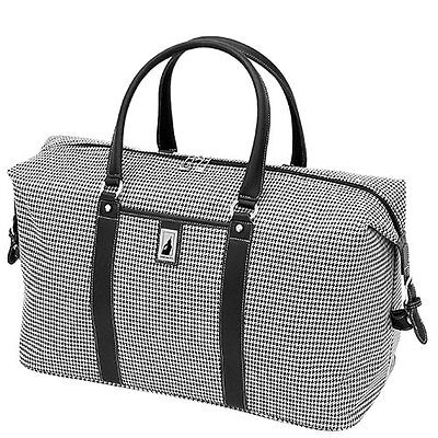 562621627 London Fog Cambridge 16 Inch Classic Satchel Black and White Houndstooth