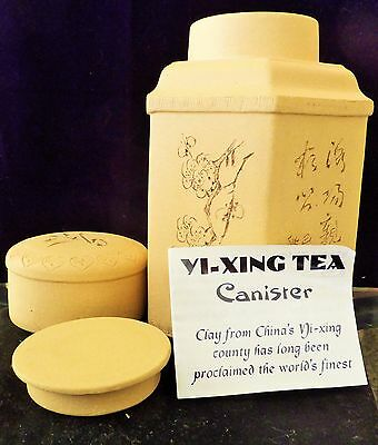 "Chinese Yi-Xing Zisha Tea Canister>Octagon shaped 7 1/2""w/ 2 enclosed lids,Great"