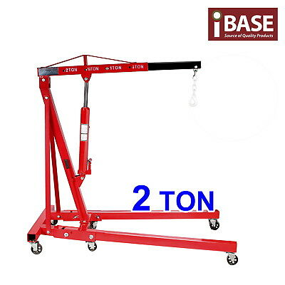 Engine Crane Hoist Lifter Hydraulic Workshop Crane Folding 2 Ton Rated Lift Red