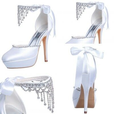 Fashion Ivory Bridal Shoes Crystal Women Party High Heel Ribbon Shoes Size 7 8 9