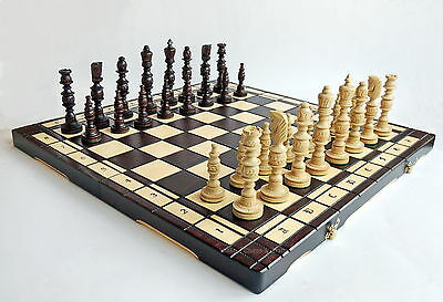 BRAND NEW LARGE HANDCRAFTED GALANT WOODEN CHESS SET 56cm