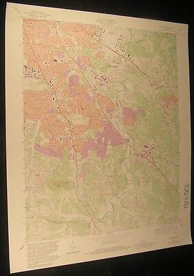 Antioch Tennessee Rural Hill Woodbine 1984 vintage USGS original Topo chart map