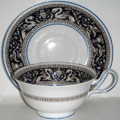Wedgwood  Florentine Blue  Cup & Saucer Peony (Imperfect)
