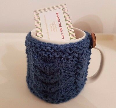 Hand Knitted Aran Mug Cosy - Denim Blue