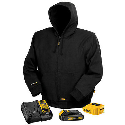 DeWALT DCHJ061C1 20V MAX Black Hooded Heated Work Jacket Kit w/ Battery, Small