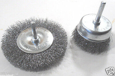 """2 Pc. Assorted (1) 4"""" Wire Wheel & (1) 2 3/4"""" Cup Brush Crimped Steel Brushes"""