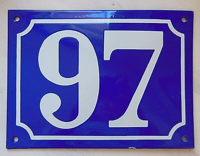 Large ANTIQUE FRENCH STEEL ENAMEL DOOR GATE HOUSE PLAQUE SIGN Blue Number 97