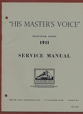 Service Manual 'His Master's Voice'  Television 1911   ya.24