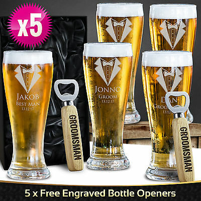 5 x Engraved 425ml Schooner Beer Glasses Boxed Personalised Wedding Favour Gift