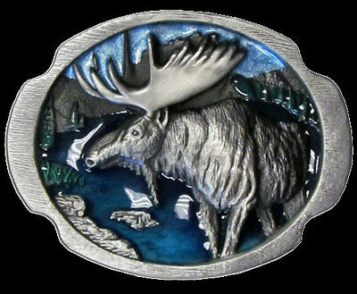 Highly Detailed Moose Belt Buckle Nice Colors New!