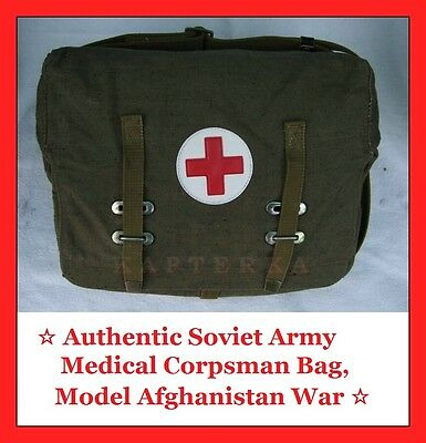 ☆ Authentic Soviet Russian Army Medical Corpsman Bag Red Cross Afghanistan War ☆
