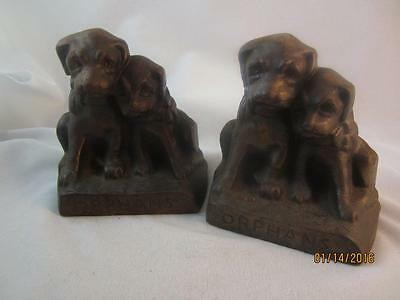 """Antique Hubley Cast Iron """"orphans"""" Figural Puppy Dogs Bookends - # 272"""