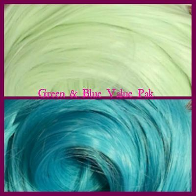 Blue & Green XL 4oz 2 Color Value Pack Nylon Doll Hair Hanks for Rerooting