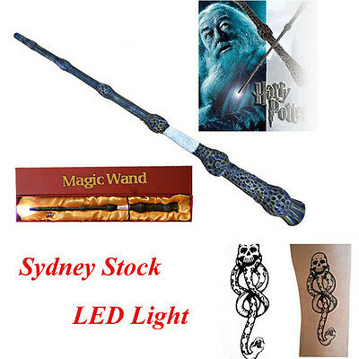 Harry potter Cosplay Dumbledore Magical Wand LED Light Wand in Gift Box +Tattoo