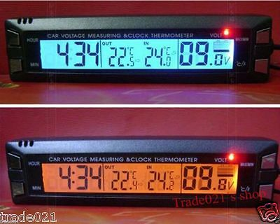 12V Car Auto Digital LED Clock Time Thermometer Volt Voltage Meter In/Out C/F