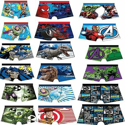 Boys Character Boxer Shorts Star Wars Spiderman Hulk Marvel Avengers Age 4-10