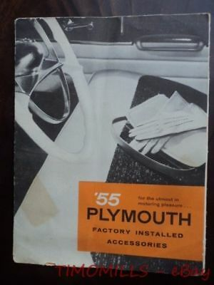 1955 Plymouth Factory Installed Accessories Catalog Brochure Vintage Original