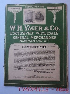 1920 W.H. Yager & Co. General Merchandise Catalogs Lamps Hardware Binghamton NY