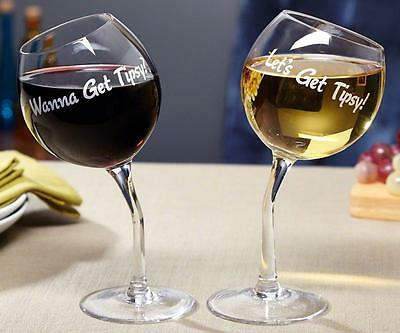 Get Tipsy Wine Lovers Glasses 2 Per Pack Hand Blown Glass Novelty Gag Gift Shots