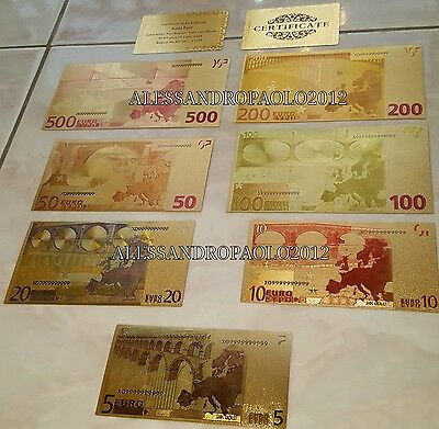 Lot Gold 24kt 5-10-20-50-100-200-500€ Set Banknotes Color Euro with certificate