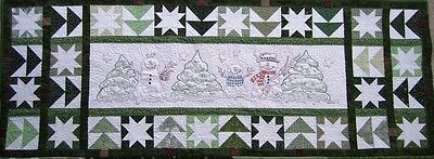 In the Meadow - Hand Embroidery Quilt Table Runner Pattern - Christmas Snowman