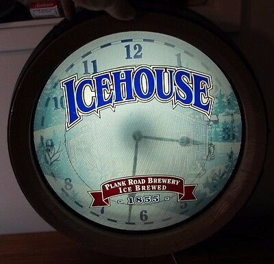 Icehouse Plank Road Brewery Lighted Clock Sign Wooden Barrel Keg Wall Beer Pub