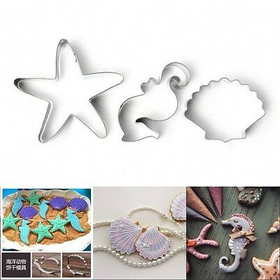New Shells Seahorse Stainless Cookie Pastry Fondant Mold Mould Cutter Cake Decor