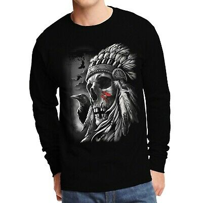Velocitee Mens Long Sleeve T Shirt Native Indian Chief Skull Dead Goth A20411