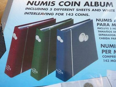 Deluxe padded Numis coin album and 5 mixed pages